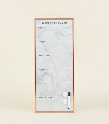 White Marble Effect Weekly Planner by New Look