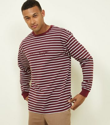 Burgundy East Side Embroidered Long Sleeve T-Shirt