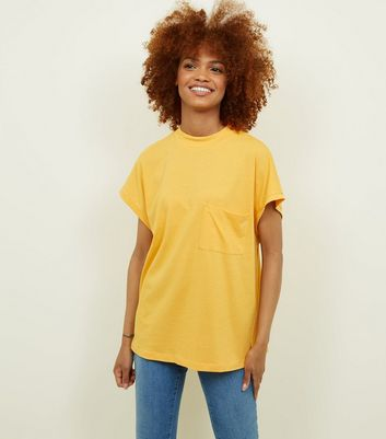 Noisy May Mustard High Neck Short Sleeve T-Shirt