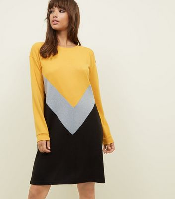 Noisy May Chevron Colour Block Jumper Dress