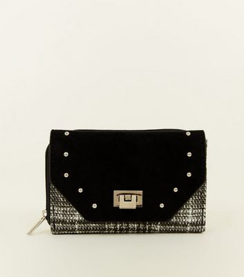 Black Check Print Studded Small Purse by New Look