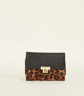Brown Leopard Print Twist Lock Purse