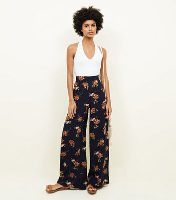 Tall Navy Floral Wide Leg Trousers