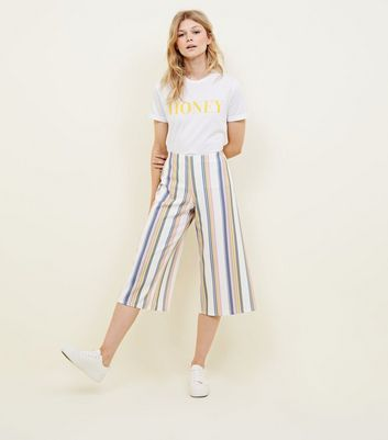 Petite White Pastel Stripe Scuba Cropped Trousers