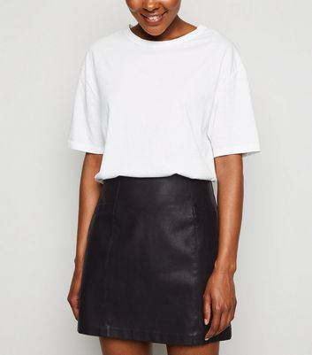 Petite Black Faux Pocket Leather-Look Mini Skirt