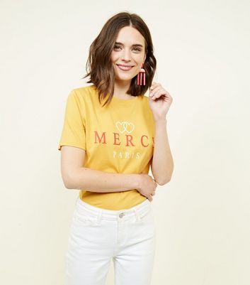 Tall Mustard Merci Paris Slogan T-Shirt