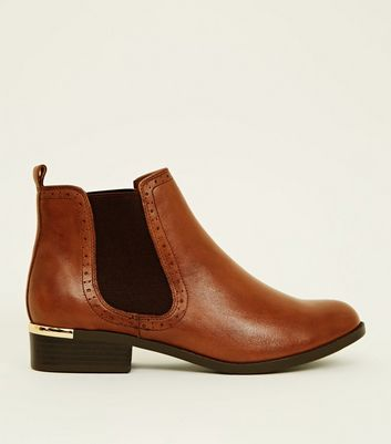 Tan Leather Metal Trim Brogue Chelsea Boots