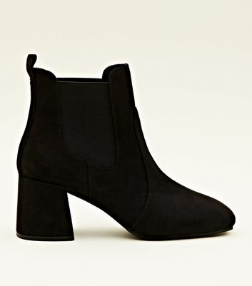 Black Suedette Square Toe Heeled Chelsea Boots