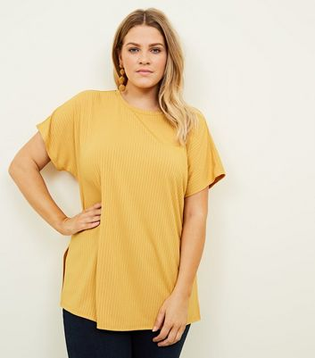 Curves Yellow Ribbed Side Split Tunic Top