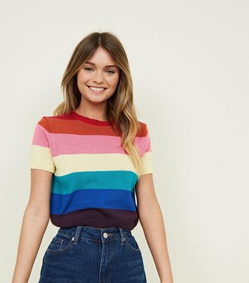 Rainbow Stripe Short Sleeve Crop Jumper