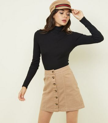 Camel Button Front A-Line Denim Skirt