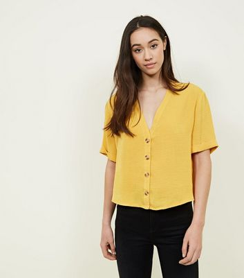 Mustard V Neck Button Front Shirt