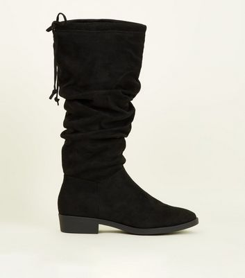 Black Small Flat Heel Knee High Boots