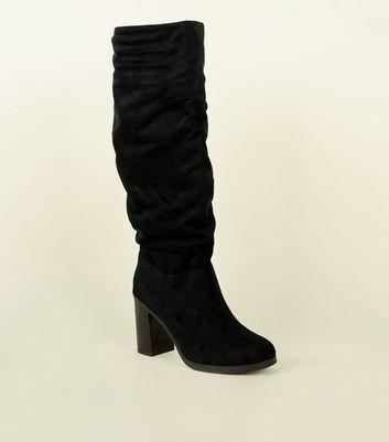 Black Block Heel Knee High Boots by New Look