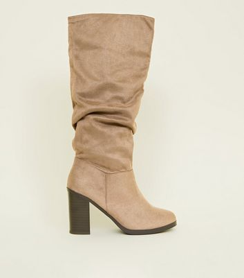 Light Brown Block Heel Knee High Boots