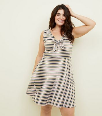 Curves White Tie Front Stripe Skater Dress