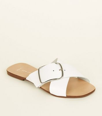 Wide Fit White Leather Cross Strap Mules