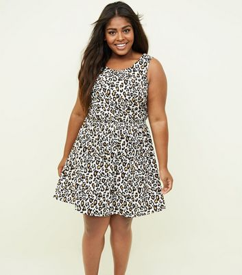 Curves Brown Leopard Print Shirred Waist Dress
