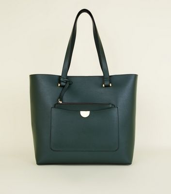 Dark Green Leather-Look Tote Bag
