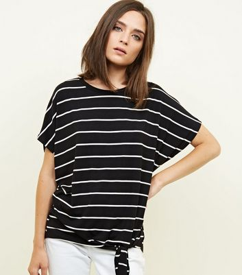 Black Stripe Tie Side T-Shirt
