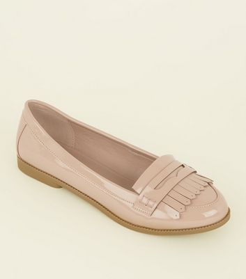 Wide Fit Nude Patent Fringe Front Loafers