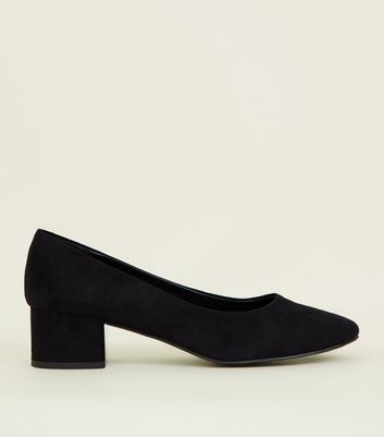 Black Suedette Block Heel Court Shoes