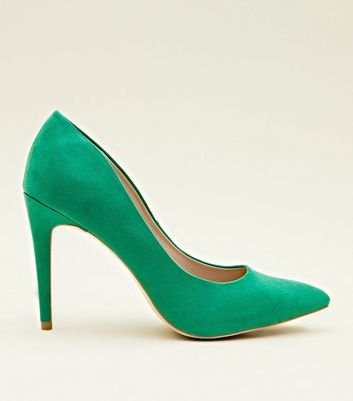 Green Suedette Stiletto Heel Pointed Courts