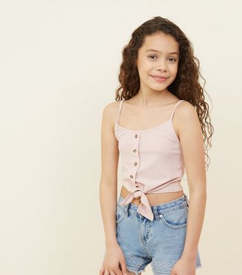 Girls Pale Pink Ribbed Tie Front Cami