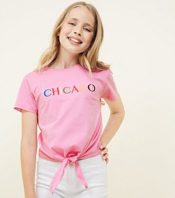 Teens Pink Chicago Embroidered Tie Front T Shirt by New Look
