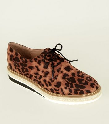 Tan Leopard Print Chunky Sole Lace Up Shoes