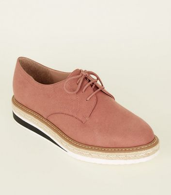 Pink Suedette Chunky Sole Lace Up Shoes