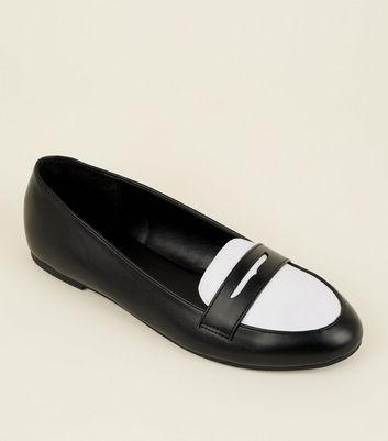 Black Monochrome Leather-Look Penny Loafers