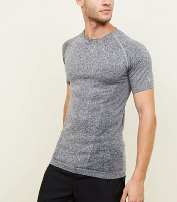 Dark Grey Ragan Sleeve Muscle Fit Sports T-Shirt
