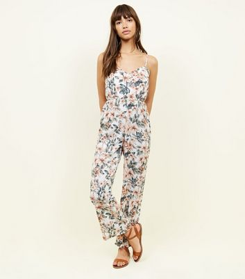 Mela White Tropical Floral Wide Leg Jumpsuit