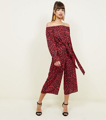 QED Red Leopard Print Culottes