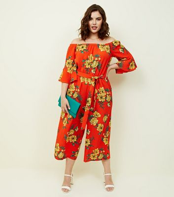 Orange Floral Bardot Neck Culotte Jumpsuit