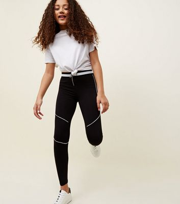 Teens Black Pipped Zip Front Leggings