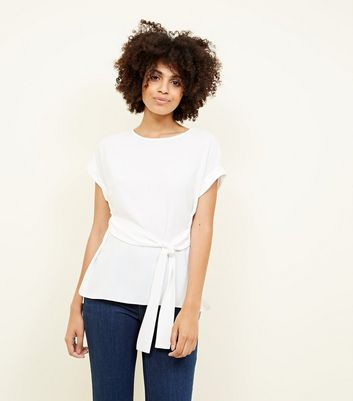 Off White Tie Front Rolled Sleeve Top