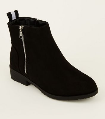 Wide Fit Black Ribbon Tab Back Ankle Boots by New Look