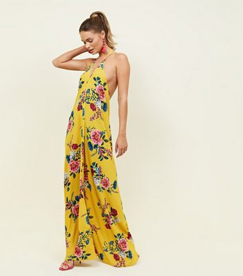QED Yellow Floral Halterneck Open Back Maxi Dress