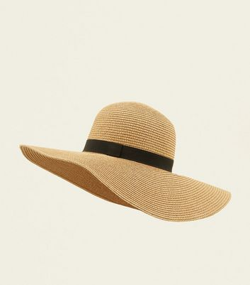 Stone Straw Floppy Hat by New Look
