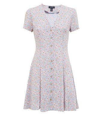 New Look - Pale Blue Ditsy Floral Button Front Tea Dress - 4