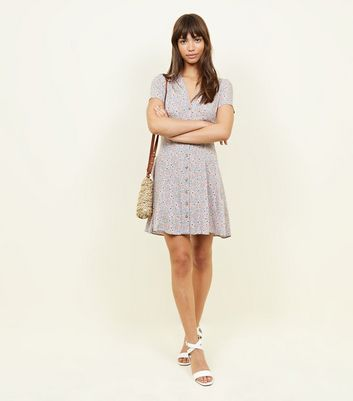 New Look - Pale Blue Ditsy Floral Button Front Tea Dress - 2