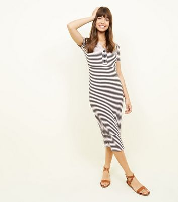 Pink Stripe Button Front Ribbed Midi Dress