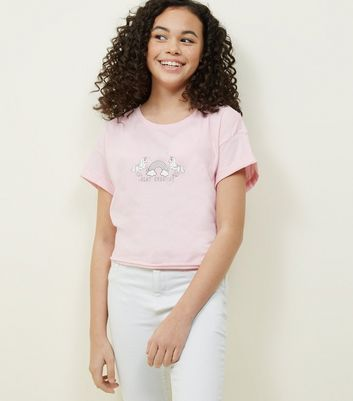 Teens Pale Pink Slay Unicorn Rainbow Logo T-Shirt