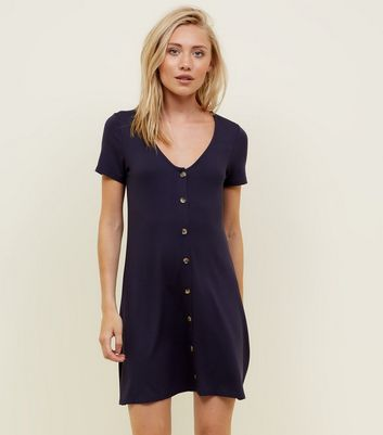 Petite Navy Button Front Mini Swing Dress