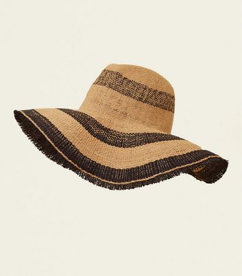 Stone Floppy Stripe Straw Hat by New Look