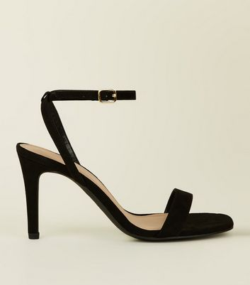 Wide Fit Black Suedette Strappy Square Toe Heels