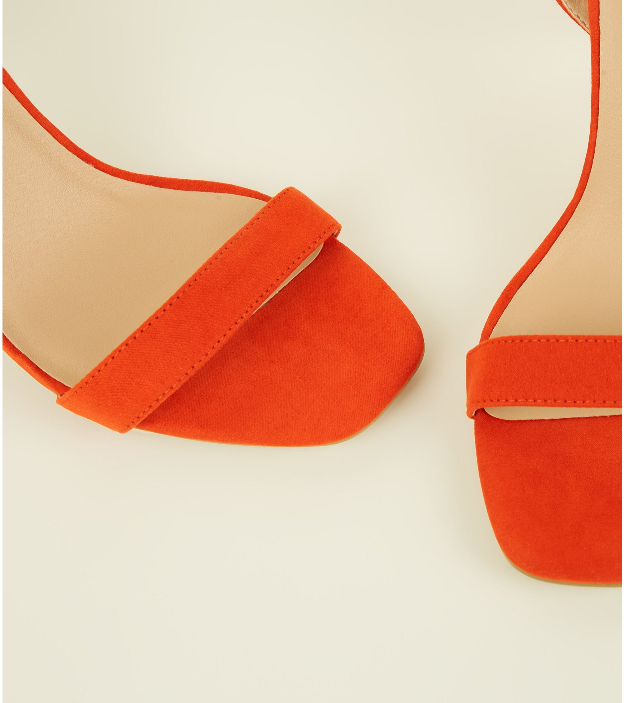 c6c1c4f935c1 New Look Wide Fit Bright Orange Suedette Strappy Square Toe Heels at ...