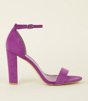 Wide Fit Purple Suedette Ankle Strap Block Heels by New Look